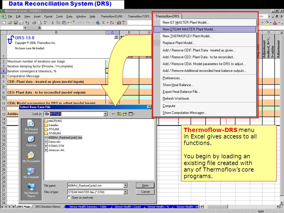 New DRS Workbook Thermoflow-DRS menu in Excel gives access to all functions.