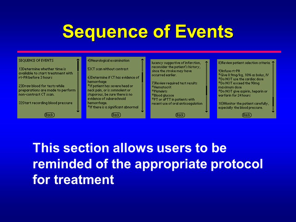 Sequence of Events This section allows users to be reminded of the appropriate protocol for treatment.