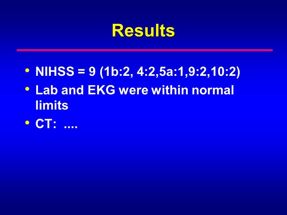 Results NIHSS = 9 (1b:2, 4:2,5a:1,9:2,10:2)