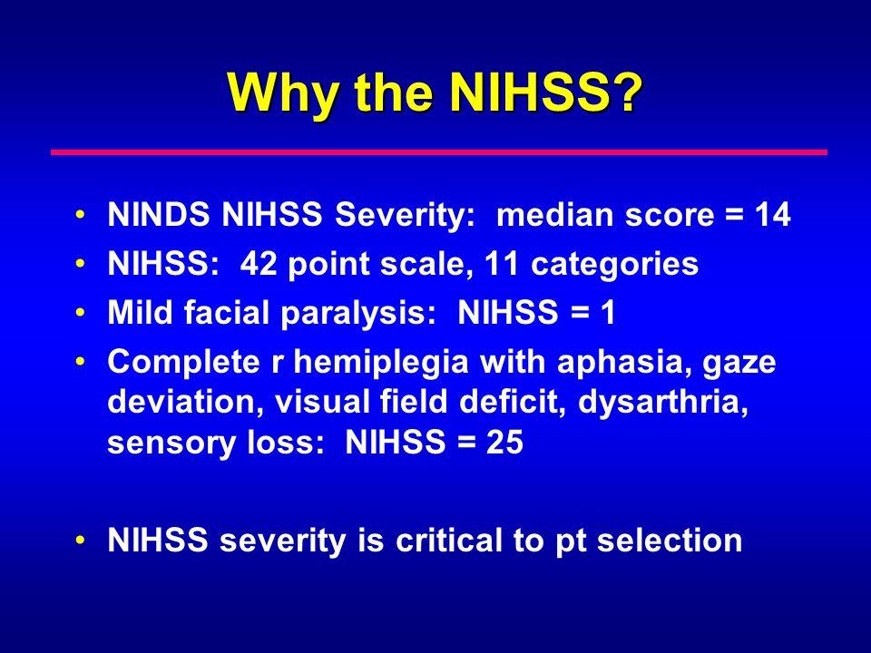 Why the NIHSS NINDS NIHSS Severity: median score = 14