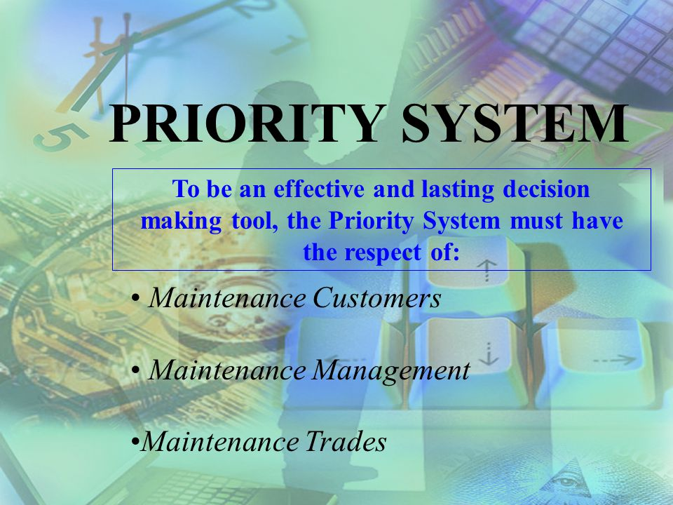 PRIORITY SYSTEM Maintenance Customers Maintenance Management