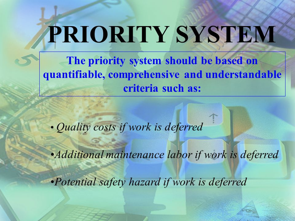 PRIORITY SYSTEM The priority system should be based on