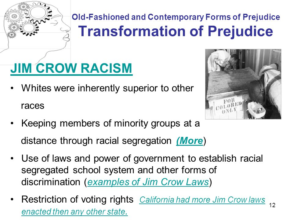 JIM CROW RACISM Whites were inherently superior to other races