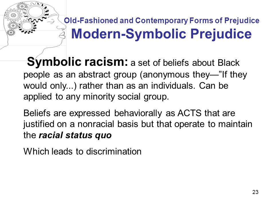 Old-Fashioned and Contemporary Forms of Prejudice Modern-Symbolic Prejudice