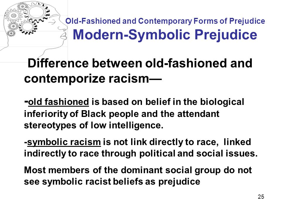 Difference between old-fashioned and contemporize racism—