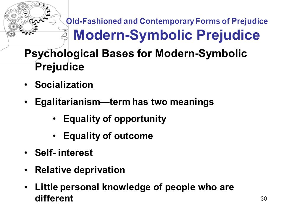 Psychological Bases for Modern-Symbolic Prejudice