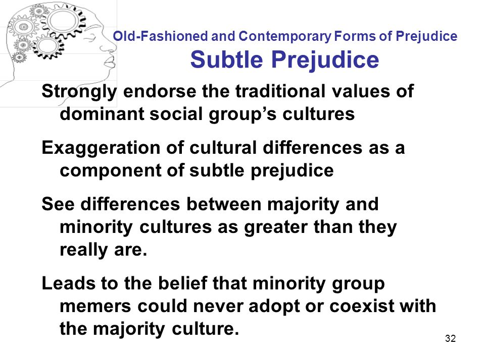 Old-Fashioned and Contemporary Forms of Prejudice Subtle Prejudice
