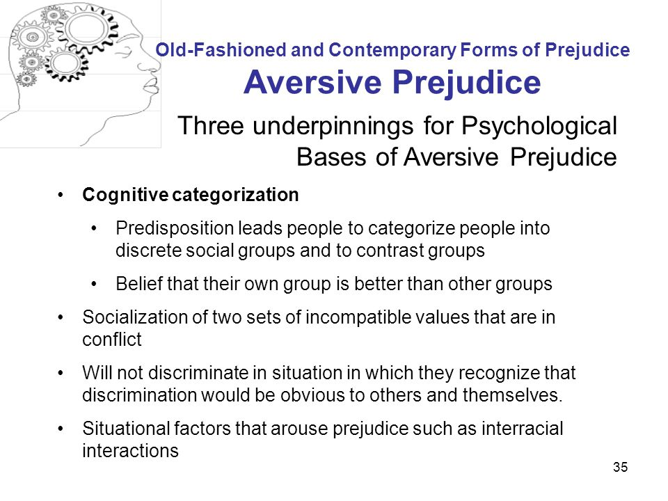 psychology of prejudice Despite drawbacks, book sheds light on prejudice the psychology of prejudice: from attitudes to social action by lynne m jackson american psychological association washington, dc, 2011 by paul efthim, phd.