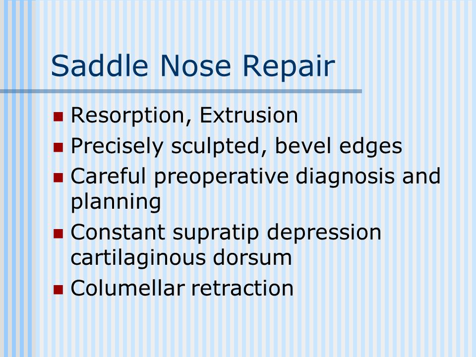 Saddle Nose Repair Resorption, Extrusion
