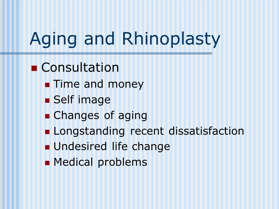 Aging and Rhinoplasty Consultation Time and money Self image