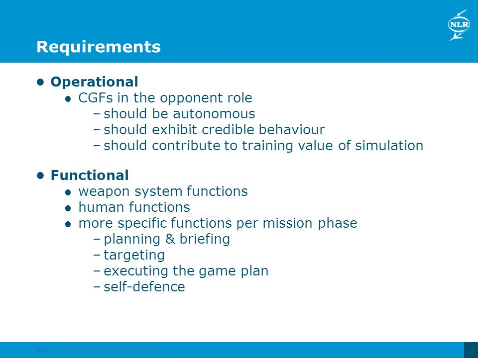 Requirements Operational CGFs in the opponent role