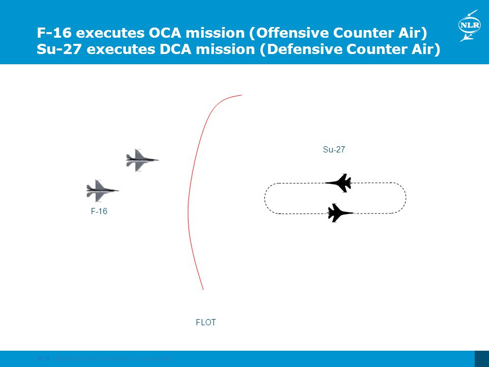 F-16 executes OCA mission (Offensive Counter Air) Su-27 executes DCA mission (Defensive Counter Air)