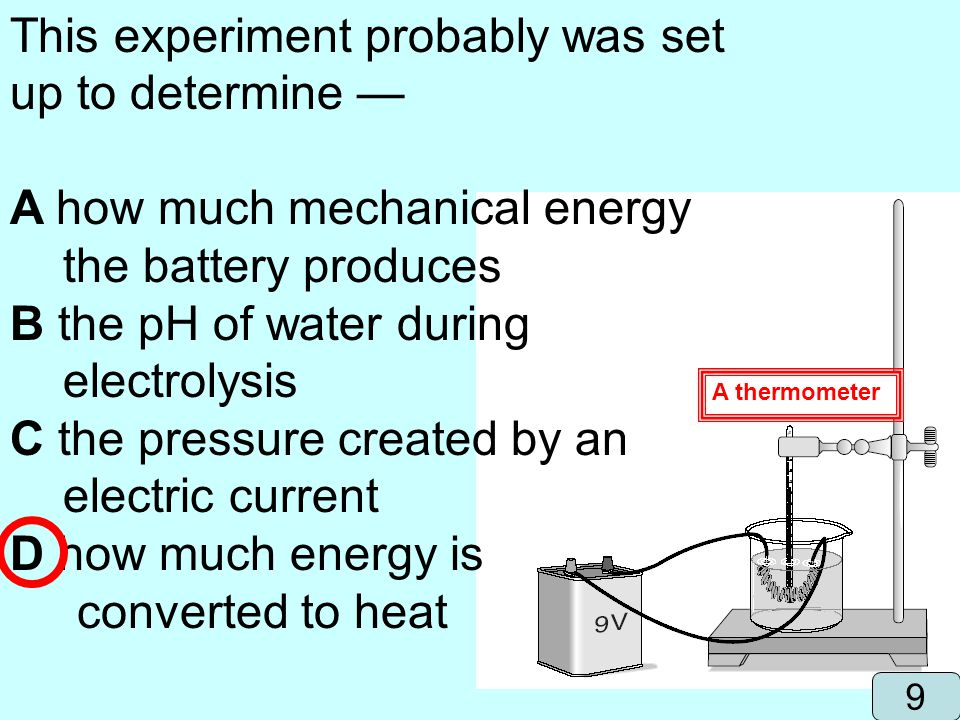 This experiment probably was set up to determine —