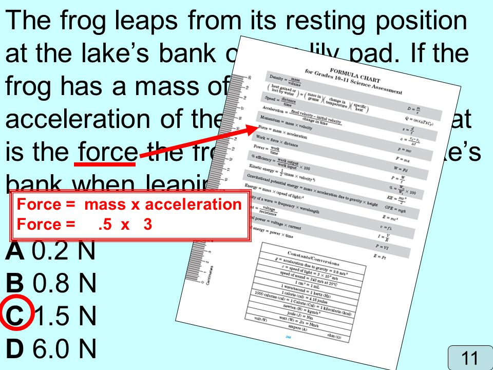 The frog leaps from its resting position at the lake's bank onto a lily pad. If the frog has a mass of 0.5 kg and the acceleration of the leap is 3 m/s2, what is the force the frog exerts on the lake's bank when leaping