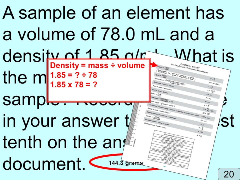 A sample of an element has a volume of mL and a density of 1