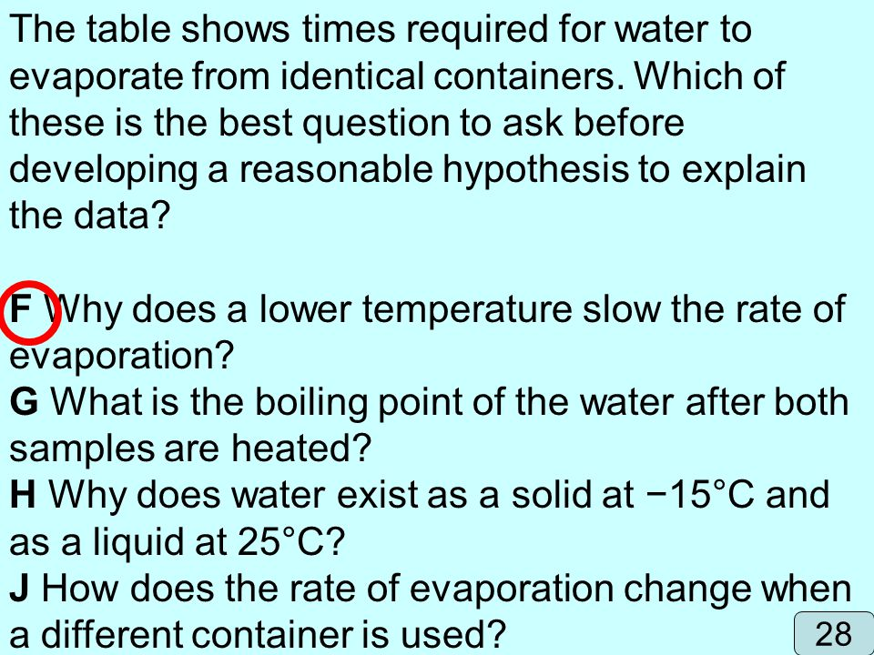 F Why does a lower temperature slow the rate of evaporation