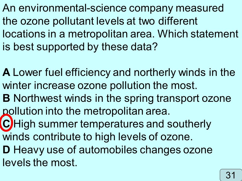 D Heavy use of automobiles changes ozone levels the most.