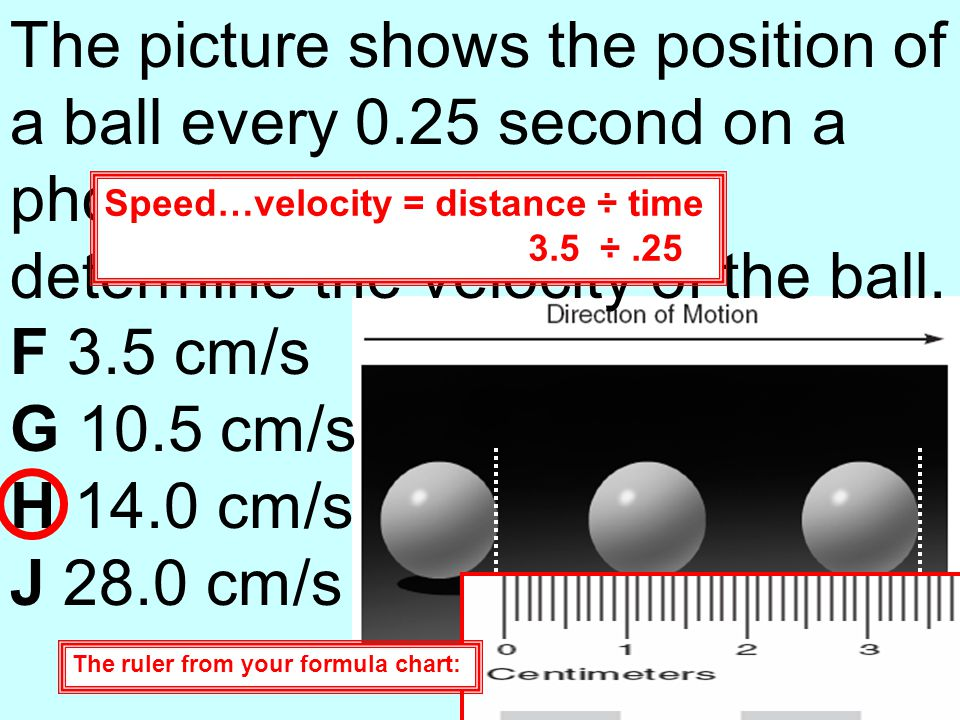 The picture shows the position of a ball every 0