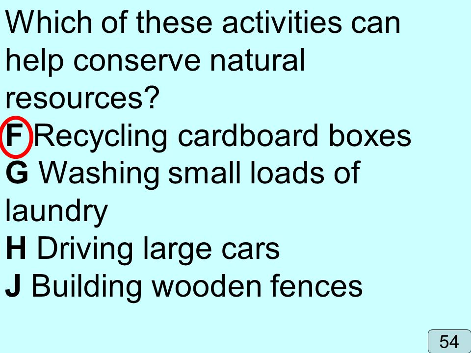 Which of these activities can help conserve natural resources