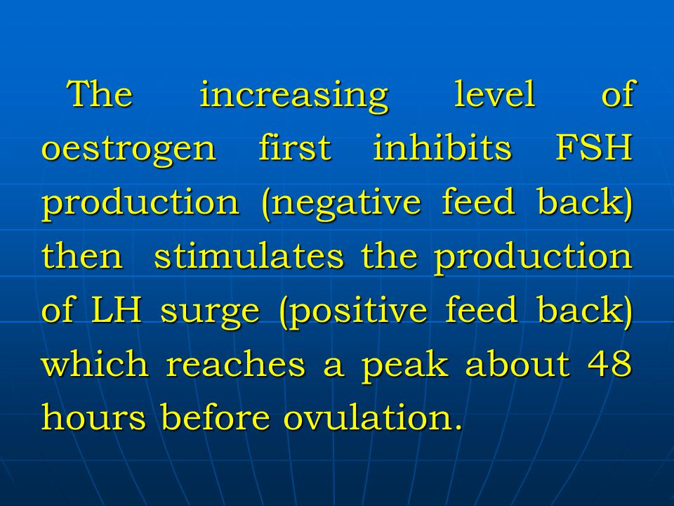 The increasing level of oestrogen first inhibits FSH production (negative feed back) then stimulates the production of LH surge (positive feed back) which reaches a peak about 48 hours before ovulation.