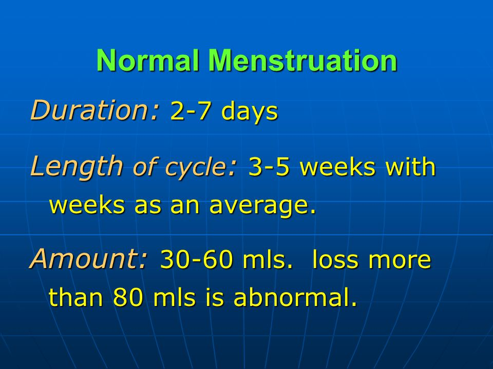 Normal Menstruation Duration: 2-7 days