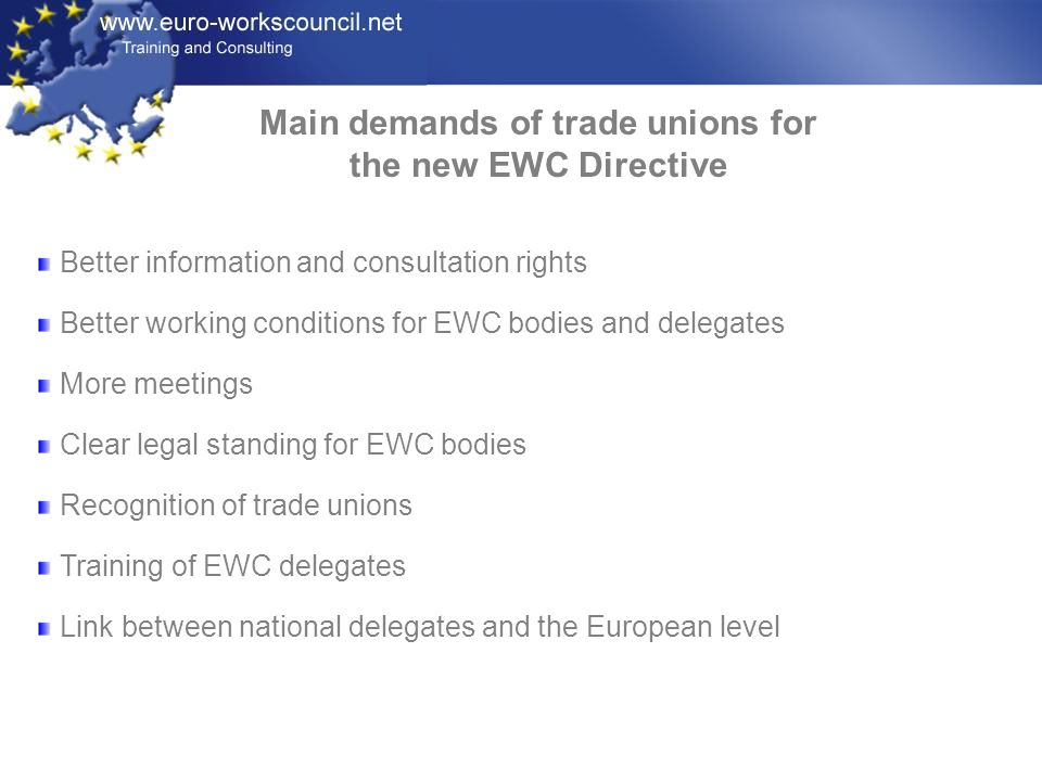 Main demands of trade unions for the new EWC Directive