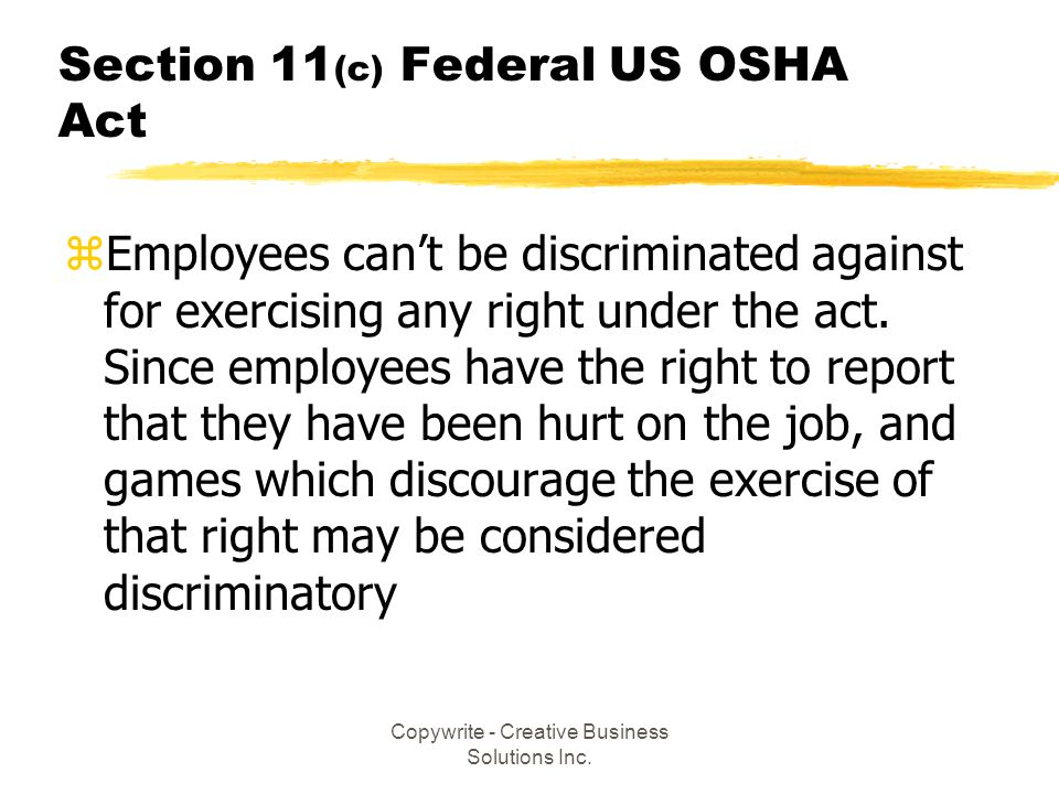 Section 11(c) Federal US OSHA Act