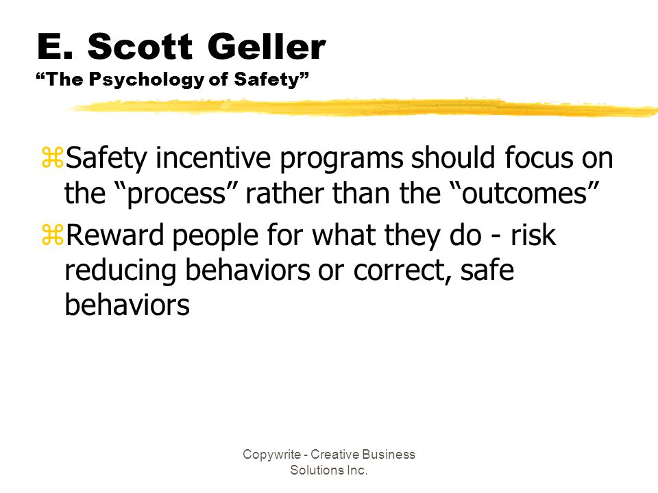 E. Scott Geller The Psychology of Safety