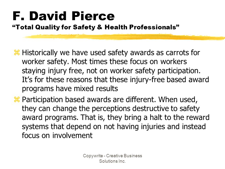 F. David Pierce Total Quality for Safety & Health Professionals