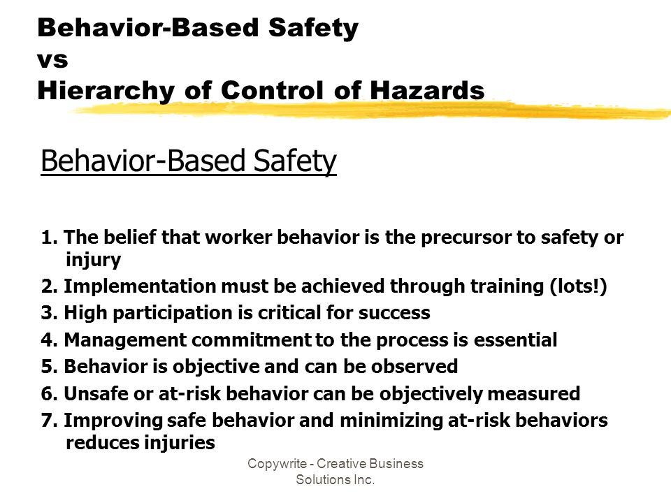 Behavior-Based Safety vs Hierarchy of Control of Hazards
