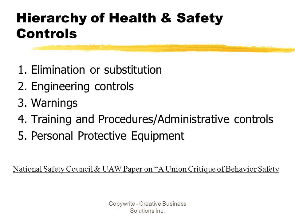 Hierarchy of Health & Safety Controls