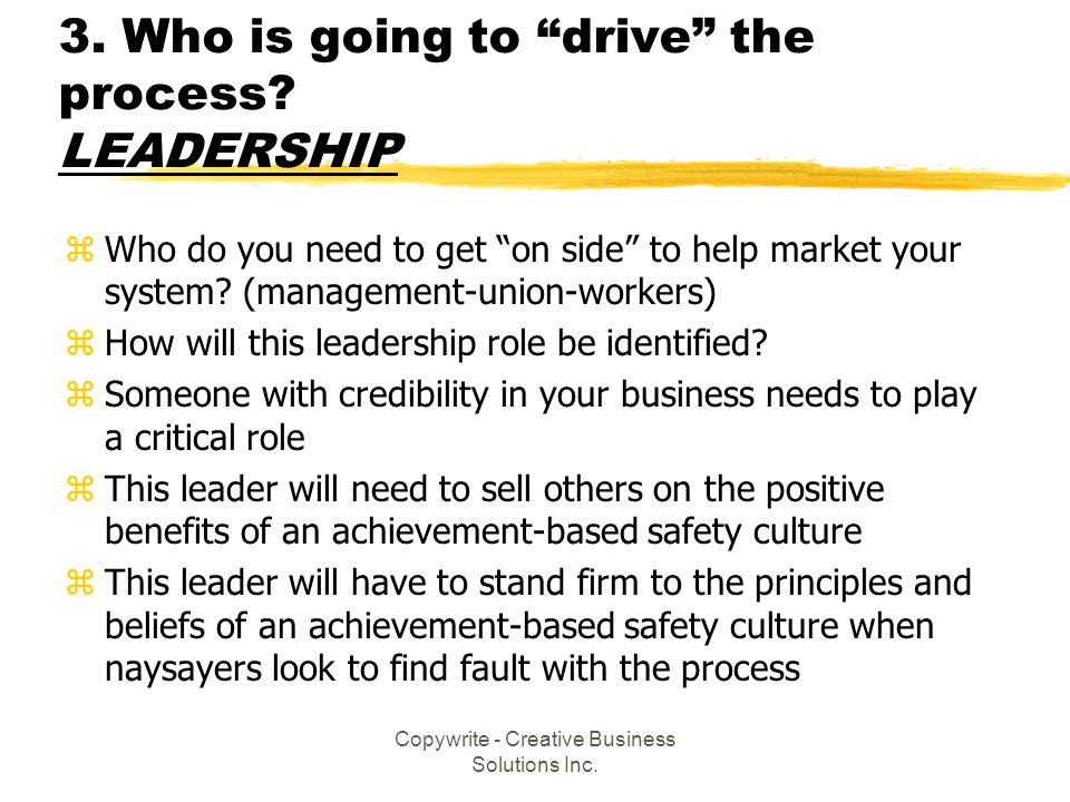 3. Who is going to drive the process LEADERSHIP