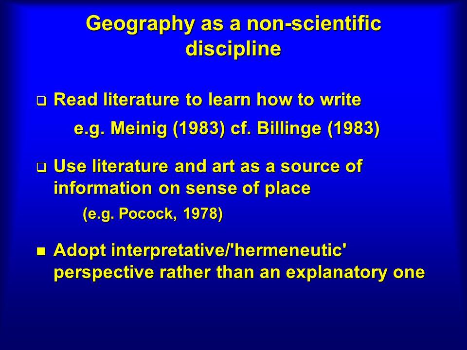 Geography as a non-scientific discipline