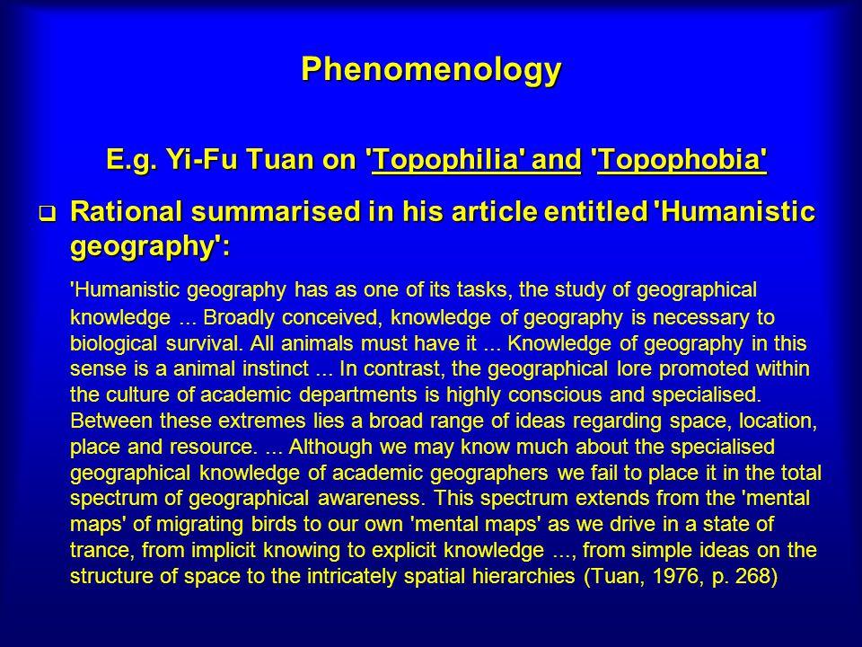 E.g. Yi-Fu Tuan on Topophilia and Topophobia