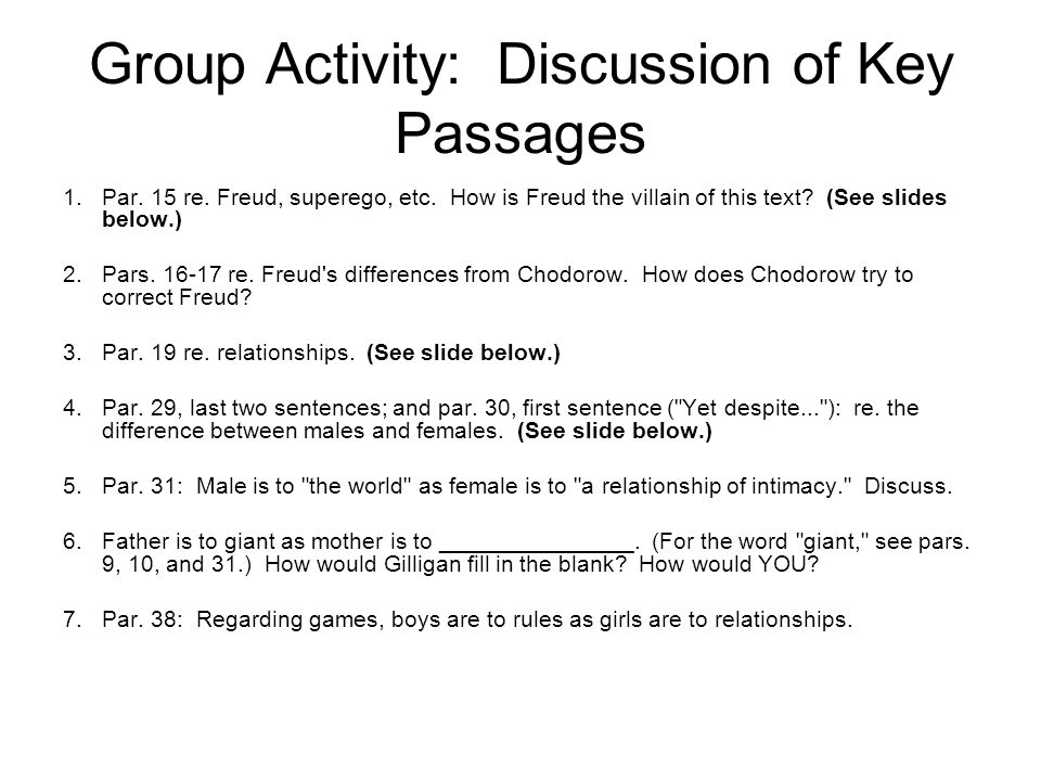 Group Activity: Discussion of Key Passages