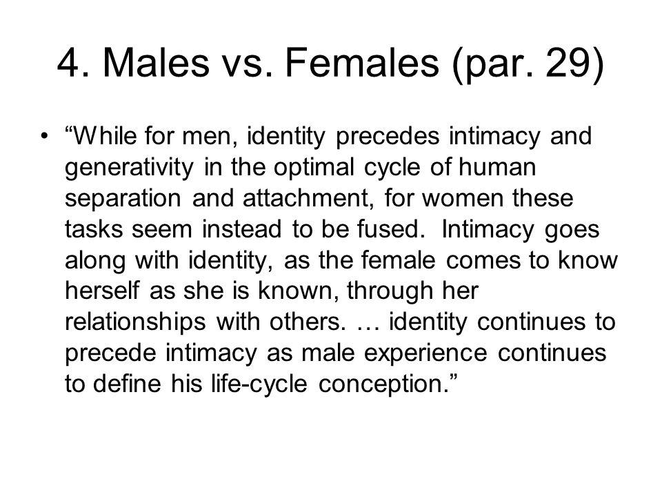 4. Males vs. Females (par. 29)
