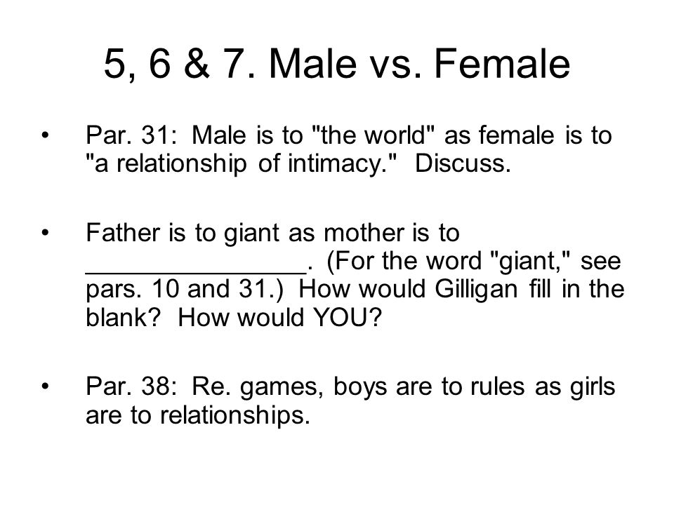 5, 6 & 7. Male vs. Female Par. 31: Male is to the world as female is to a relationship of intimacy. Discuss.