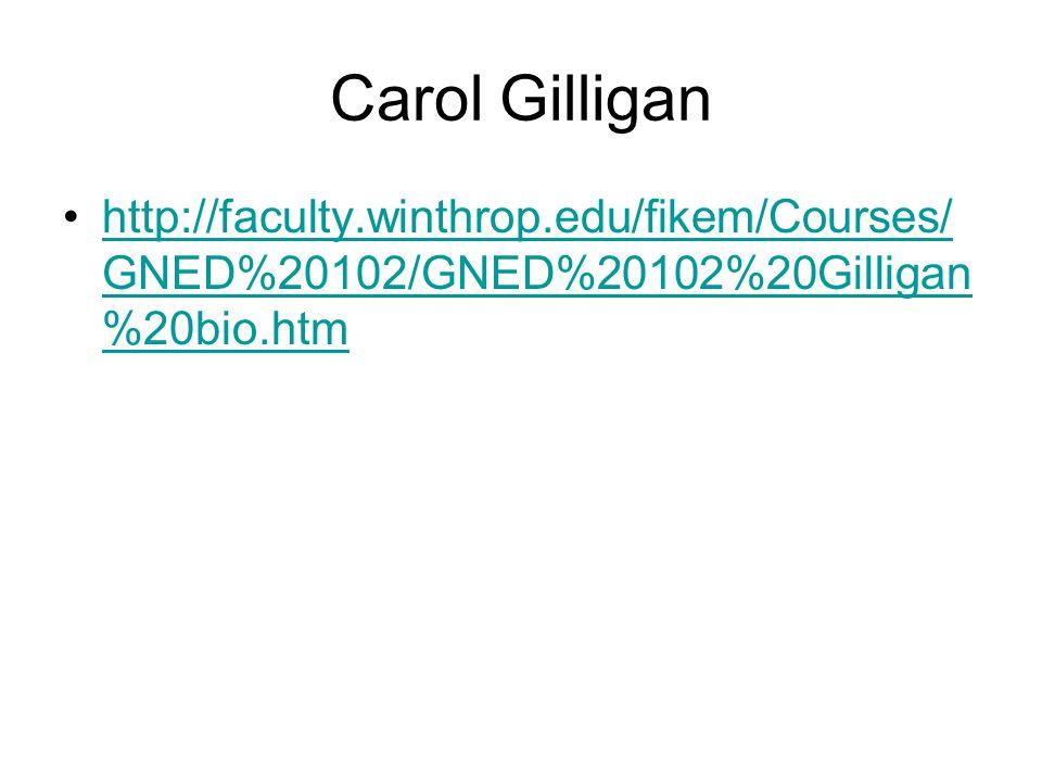 Carol Gilligan http://faculty.winthrop.edu/fikem/Courses/GNED%20102/GNED%20102%20Gilligan%20bio.htm