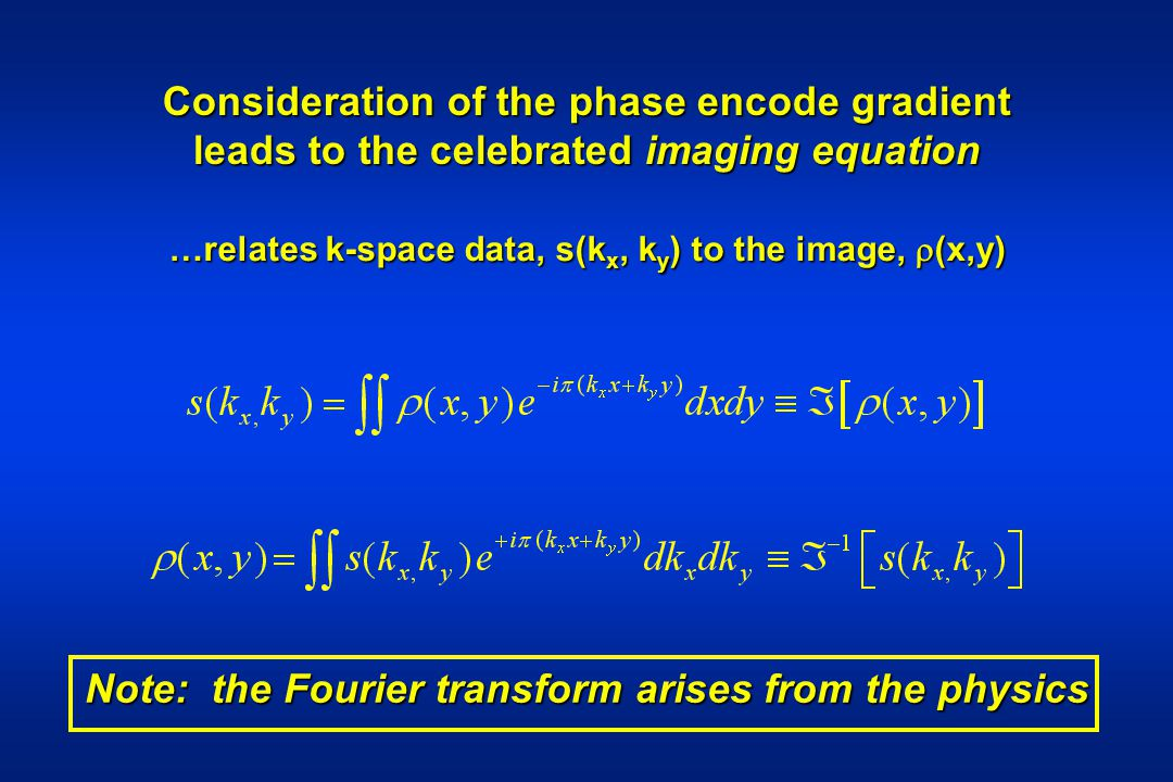 Consideration of the phase encode gradient