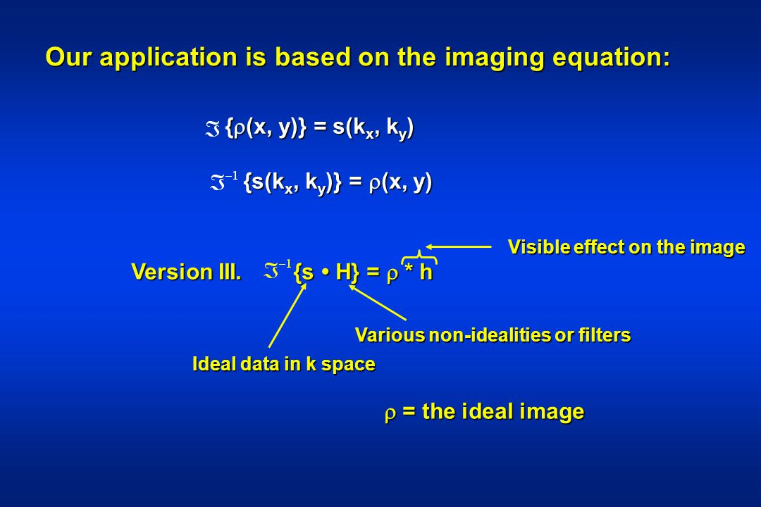 Our application is based on the imaging equation: