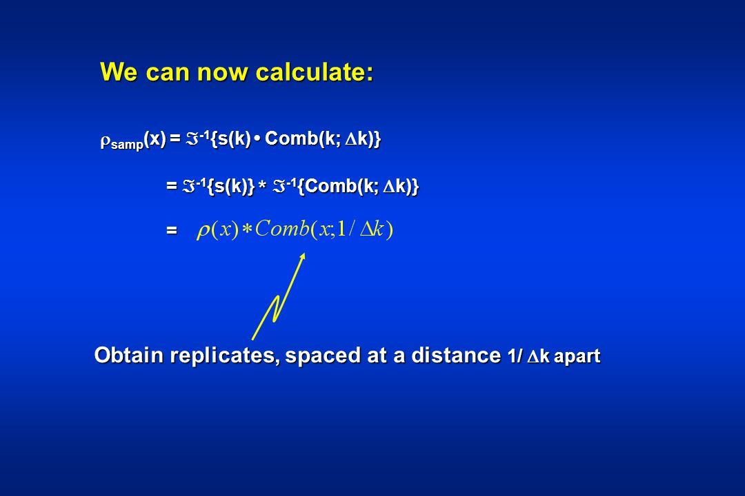 We can now calculate: samp(x) = -1{s(k) • Comb(k; k)} = -1{s(k)} * -1{Comb(k; k)} = Obtain replicates, spaced at a distance 1/ k apart.