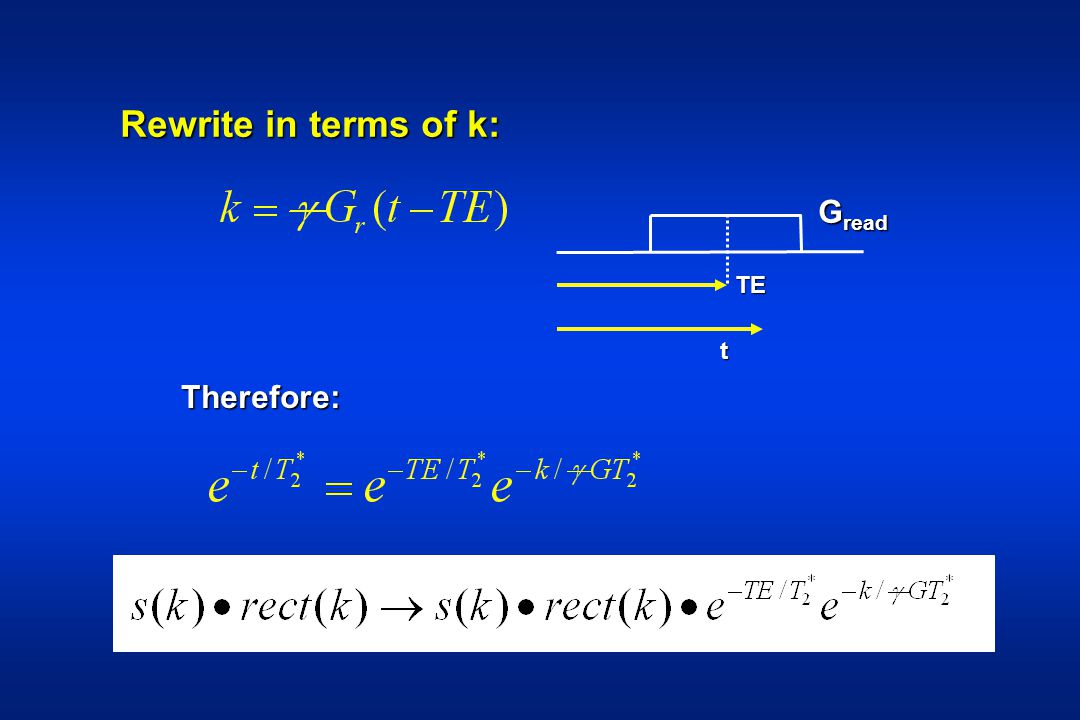 Rewrite in terms of k: Gread TE t Therefore: