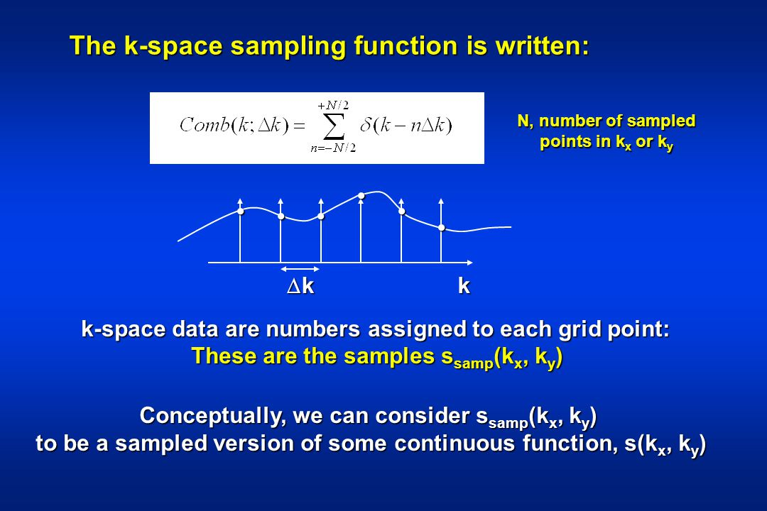 The k-space sampling function is written: