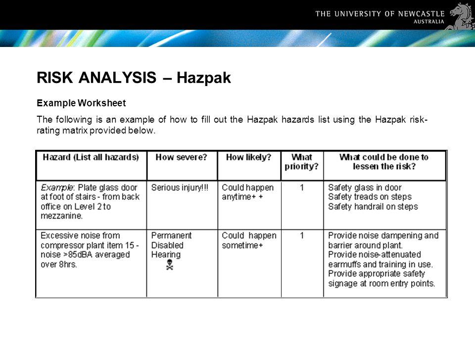 RISK ANALYSIS – Hazpak Example Worksheet