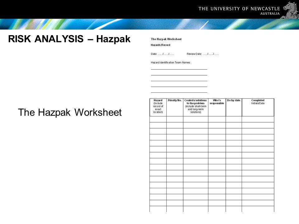 RISK ANALYSIS – Hazpak The Hazpak Worksheet