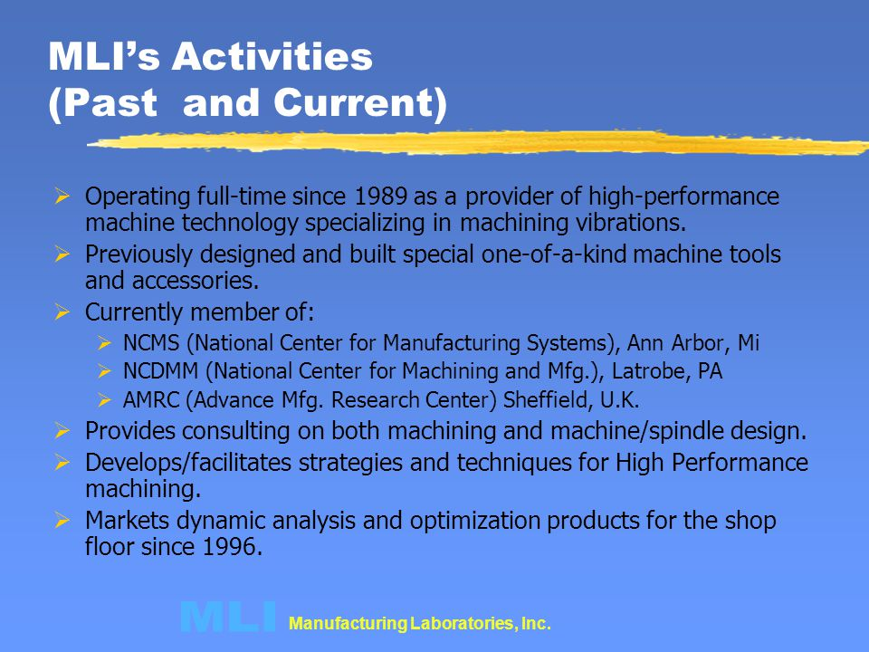 MLI's Activities (Past and Current)