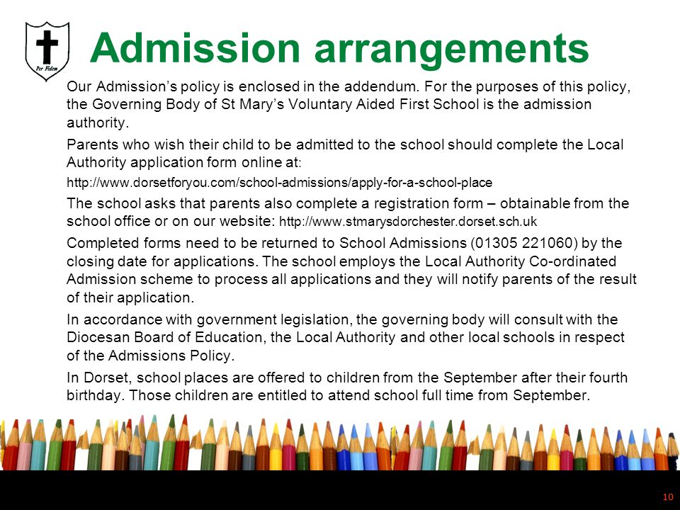 Admission arrangements