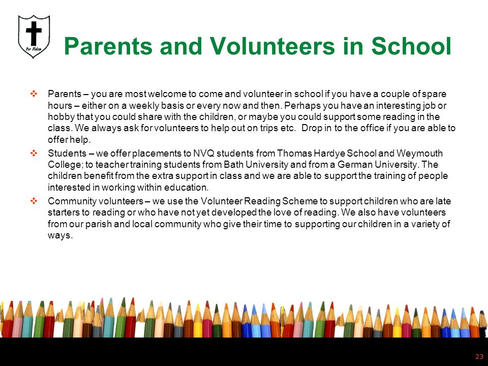 Parents and Volunteers in School