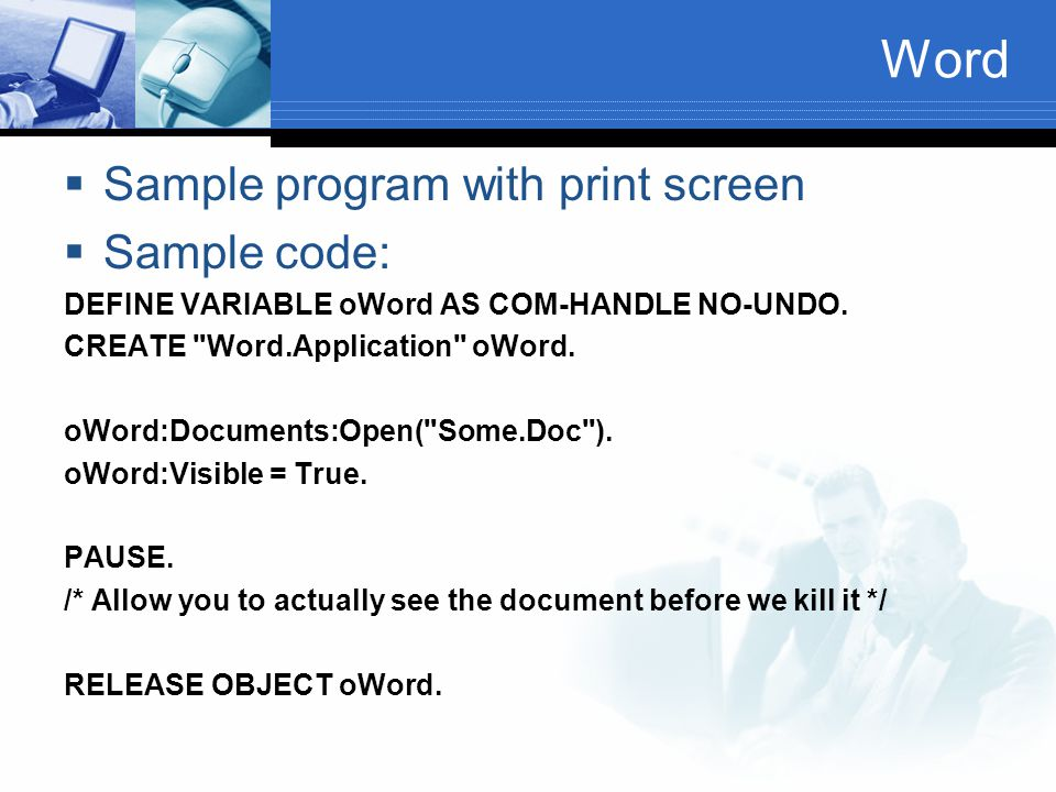 Word Sample program with print screen Sample code: