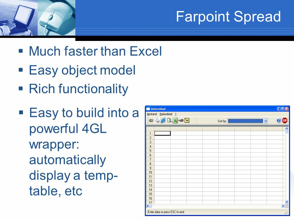 Farpoint Spread Much faster than Excel Easy object model